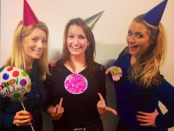 Kait Borsay, Lynsey Hooper, and Hayley McQueen celebrating the website's first birthday.