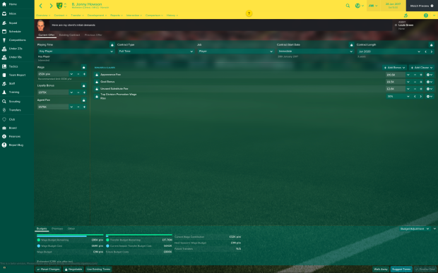 The power is in their hands: players and agents hold the cards more than ever in FM17 negotiations, hence Jonny Howson's adding starting his negotiations seeking a doubling of his basic salary! Thankfully his agent is apparently a patient negotiator, so here's hoping...