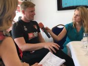 Lynsey Hooper and Kait Borsay interviewing Eddie Howe for The Offside Rule Exclusives