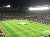 Opening ceremony of a Champions League game at the Camp Nou in Barcelona