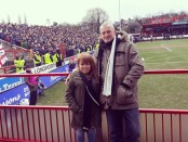 Alex Stewart and her dad Mark Steward taking in Derby County away at Acccrington Stanley for the fourth round of the FA Cup