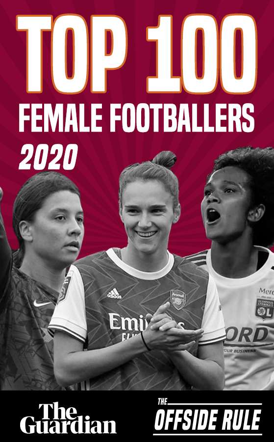 black and white photos of Sam Kerr, Vivianne Miedema, and Wendie Renard as Top 100 female footballers of 2020
